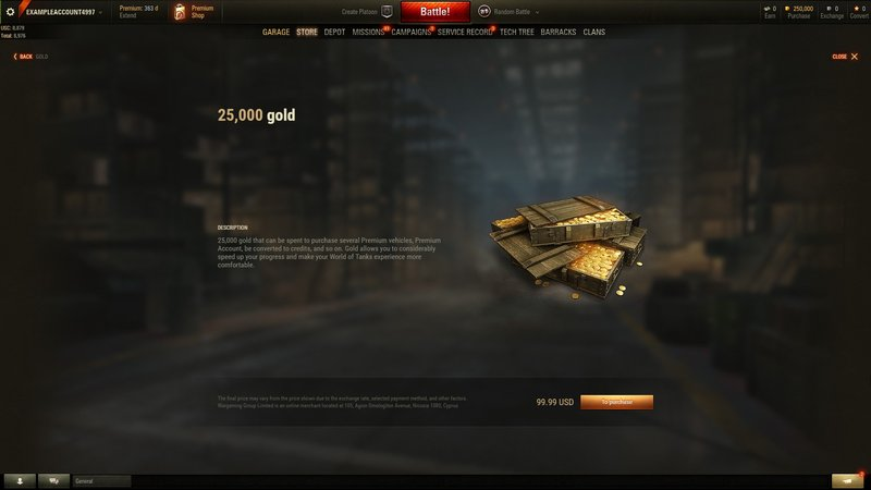 How do I purchase Gold? | World of Tanks