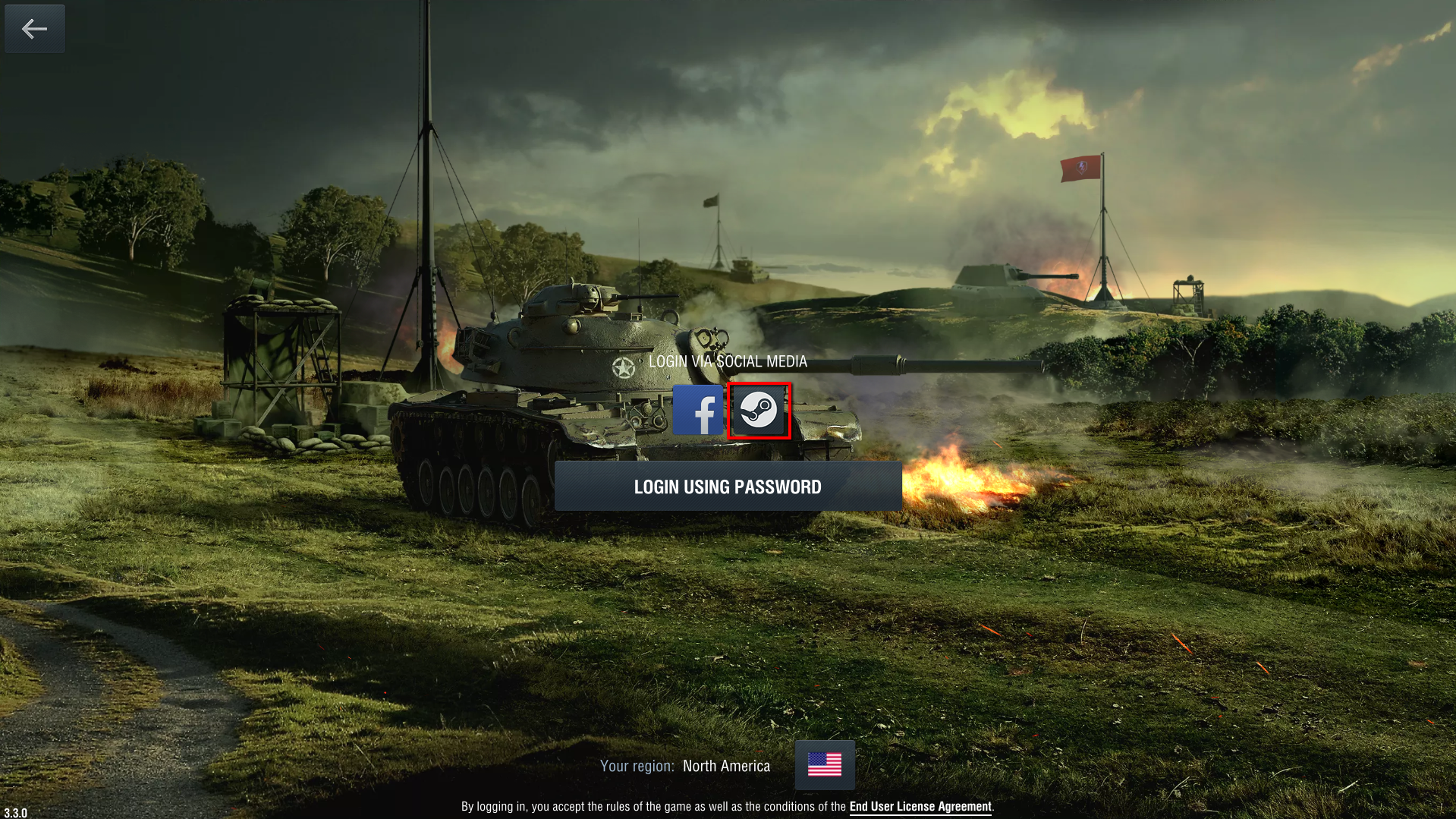 Log into your Steam account through World of Tanks Blitz:
