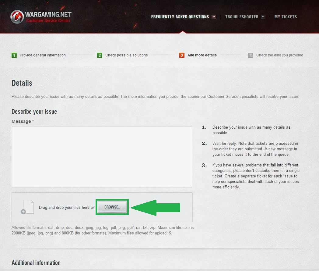 How Do I Add An Attachment To My Ticket? | World of Tanks