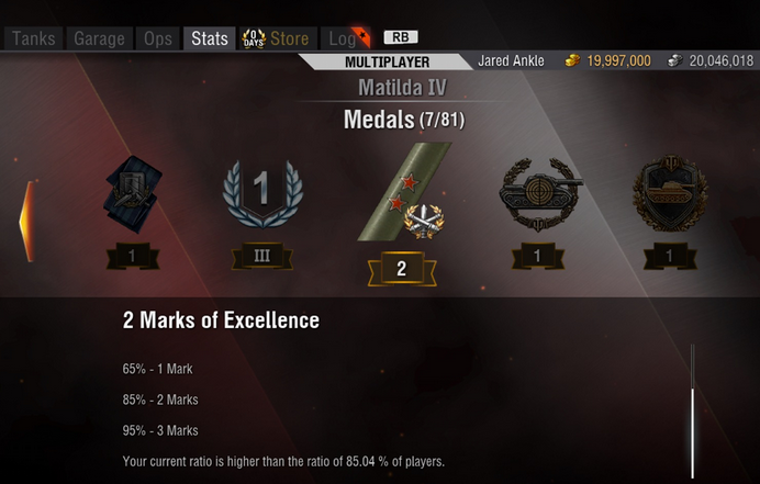 Marks of Excellence Progress Displayed | World of Tanks: Mercenaries