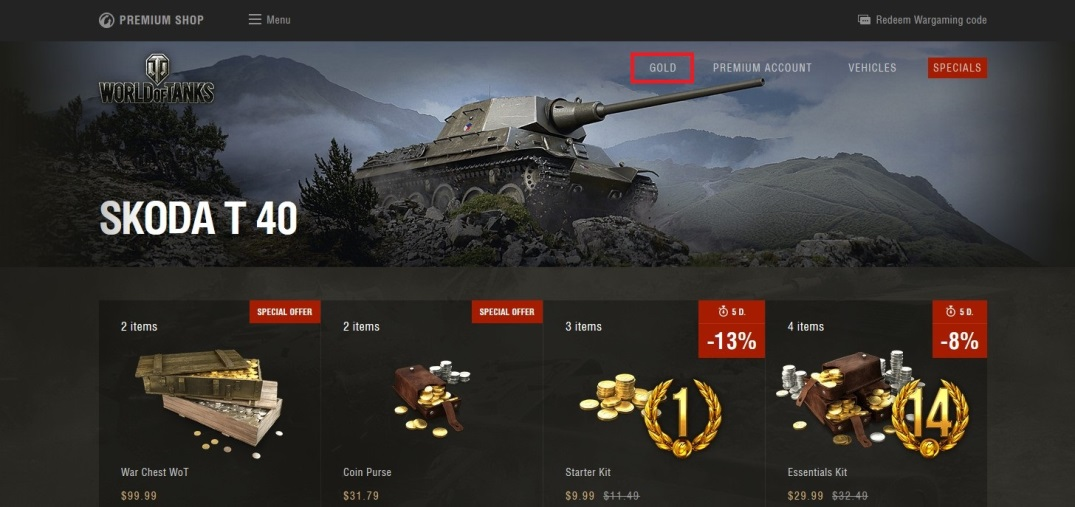 Gift Cards for Gold | World of Tanks