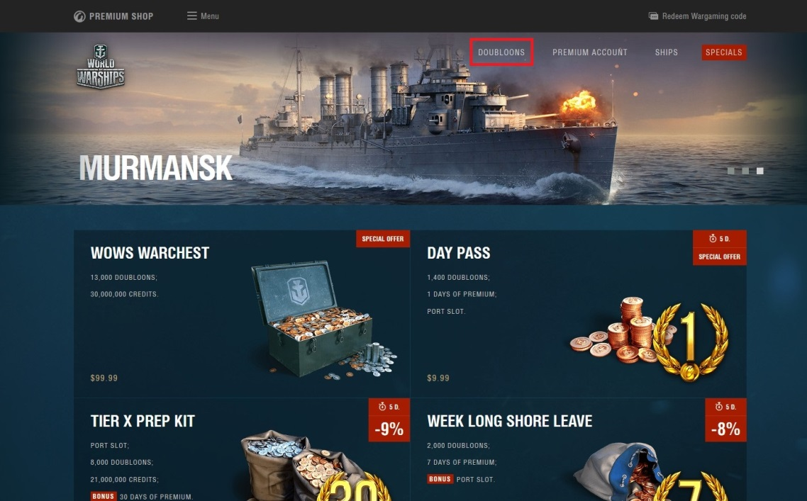 Gift Cards for Gold | World of Warships